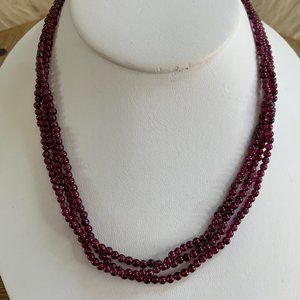 925 Mulberry Glass Bead 3-Strand Necklace